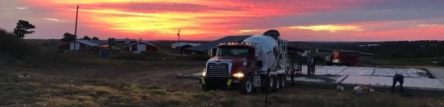 Concrete Mixer Truck at Sunset